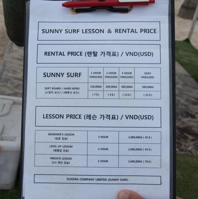Sunny surf Lista de precios